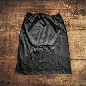 Vintage Carol Brent Floral Sleek Black Slip Skirt